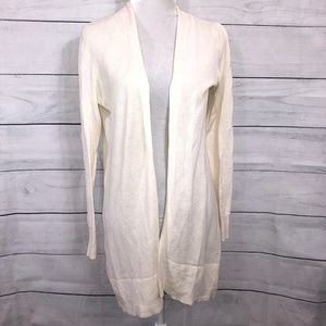 Gap Open Front Textured Off-White Cardigan - M